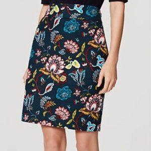 LOFT NWOT Teal Floral skirt, Size 6
